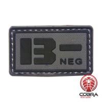 B- NEG blood type 3D PVC Military patch black gray with velcro