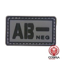 AB- NEG blood type 3D PVC Military patch black gray with velcro