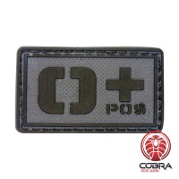 O+ POS blood type 3D PVC Military patch black gray with velcro