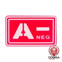A- NEG blood type 3D PVC Military patch red with velcro