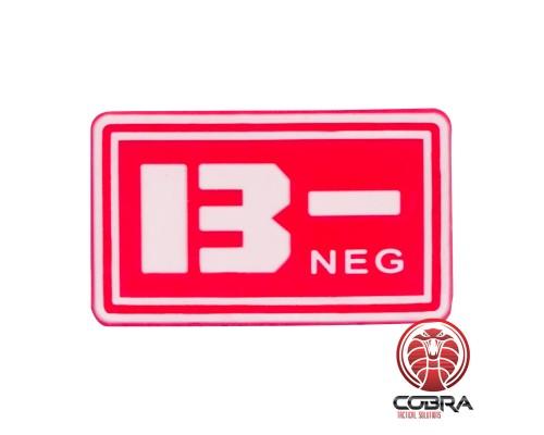 B- NEG bloedgroep PVC Militaire rode patch met velcro