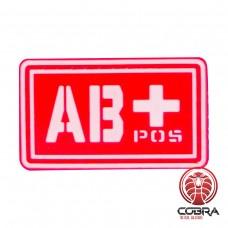AB+ POS bloedgroep PVC Militaire rode patch met velcro