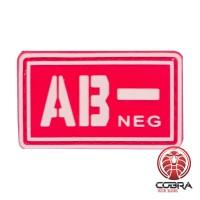 AB- NEG bloedgroep PVC Militaire rode patch met velcro