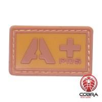 A+ POS bloedgroep 3D PVC Militaire patch bruin met velcro