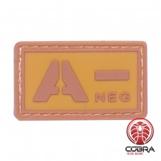 A- NEG bloedgroep PVC Militaire bruine patch met velcro