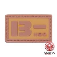 B- NEG bloedgroep PVC Militaire bruine patch met velcro