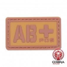 AB+ POS bloedgroep PVC Militaire bruine patch met velcro
