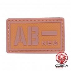 AB- NEG bloedgroep PVC Militaire bruine patch met velcro