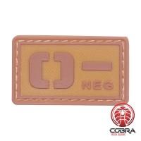 O- NEG bloedgroep PVC Militaire bruine patch met velcro