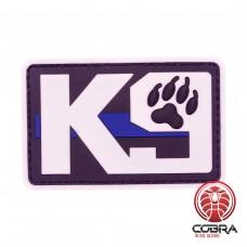 K9 Dog Patch zwart wit met blue line met velcro