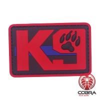 K9 Dog Patch zwart rood met red blue line met velcro