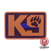 K9 hond zwart bruine politie patch met blauwe lijn met velcro