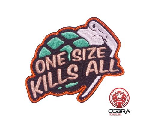 One size kills all granaat geborduurde motiverende patch met velcro