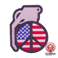 USA flag granaat geborduurde motiverende patch met velcro