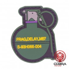 Frag, Delay, M67 grenade paarse PVC patch met velcro