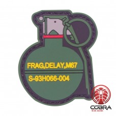 Frag, Delay, M67 grenade rode PVC patch met velcro