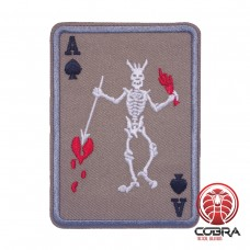 Ace Of Spades Poker Cards Skeleton Brown Geborduurde militaire Patch Iron On