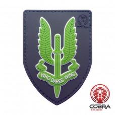Who Dares Wins SAS Motiverende Militaire PVC Patch groene met velcro