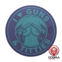 I Love Guns & Titties groene PVC Patch met klittenband