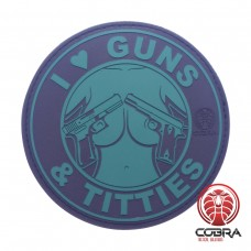 I Love Guns & Titties groene PVC Patch met klittenband
