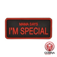 Mama says i'm special Red militaire PVC Patch met klittenband