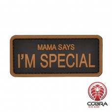 Mama says i'm special Brown militaire PVC Patch met klittenband