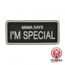 Mama says i'm special White militaire PVC Patch met klittenband