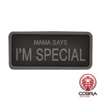 Mama says i'm special Gray militaire PVC Patch met klittenband