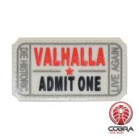 Valhalla Admit One white militaire PVC Patch met klittenband