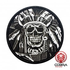 Indian Chief Skull wit Geborduurde militaire Patch met klittenband