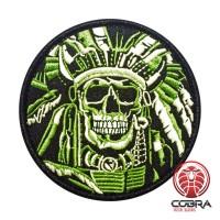 Indian Chief Skull groene Geborduurde militaire Patch met klittenband