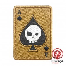 Ace of Spades Death Playing Card Skull Poker Tan Geborduurde militaire Patch met klittenband