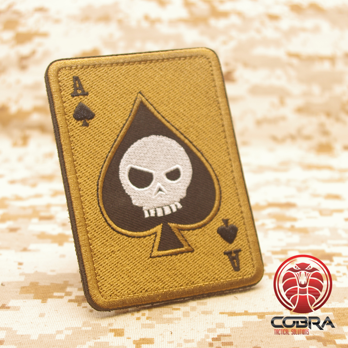 Ace Of Spades Death Playing Card Skull Poker Tan Military