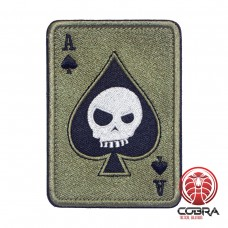Ace of Spades Death Playing Card Skull Poker Olive Geborduurde militaire Patch met klittenband