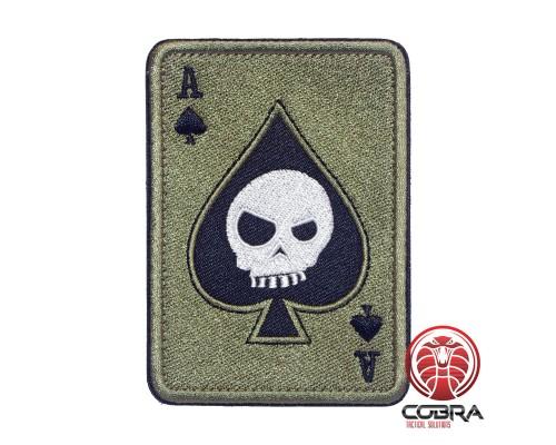 Ace of Spades Death Playing Card Skull Poker Olive Geborduurde militaire Patch met klittenband