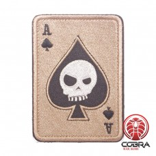 Ace of Spades Death Playing Card Skull Poker Coyote Geborduurde militaire Patch met klittenband