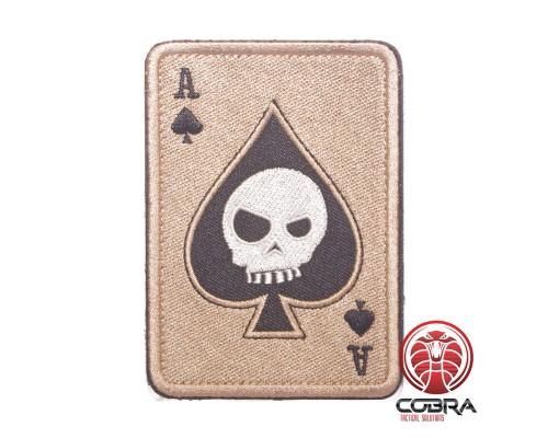 Ace of Spades Death Playing Card Skull Poker Coyote Geborduurde militaire Patch met klittenband