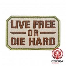 Live Free or Die Hard Tan Geborduurde militaire Patch met klittenband
