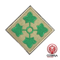 4th Infantry Division United States Army goud groen Geborduurde militaire Patch met klittenband