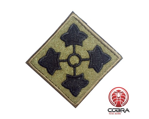 4th Infantry Division United States Army olive Geborduurde militaire Patch met klittenband