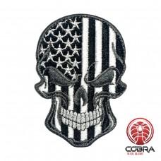 Skull Flag USA grijs Geborduurde militaire Patch met klittenband