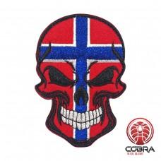 Skull vlag Noorwegen Geborduurde militaire Patch met klittenband