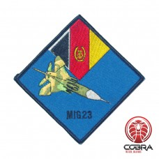 Camoflaged MIG 23 Blauwe achtergrond geborduurde patch | Opnaai  | Military Airsoft