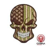 Schedelvlag USA groen Geborduurde militaire Patch met klittenband
