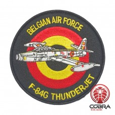 Belgian Air Force F-84G Thunderjet aviation geborduurde patch | Strijkpatches | Military Airsoft
