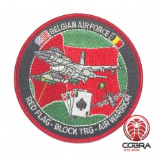 Belgian Air Force RED FLAG - BLOCK TRG - AIR WARRIOR aviation geborduurde patch | Strijkpatches | Military Airsoft