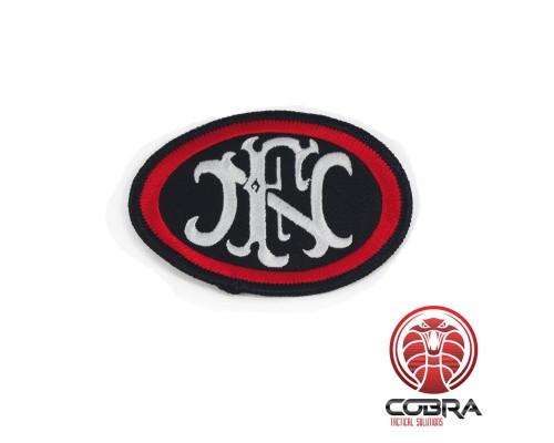 """FN """"Fabrique Nationale de Herstal"""" geborduurde patch zwart/rood"""