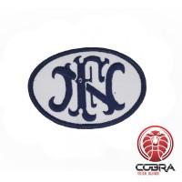 """FN """"Fabrique Nationale de Herstal"""" geborduurde patch blauw/wit"""
