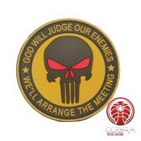 God Will Judges Our Enemies * We'll arrange the meeting 3D bruine Punisher PVC Patch met klittenband