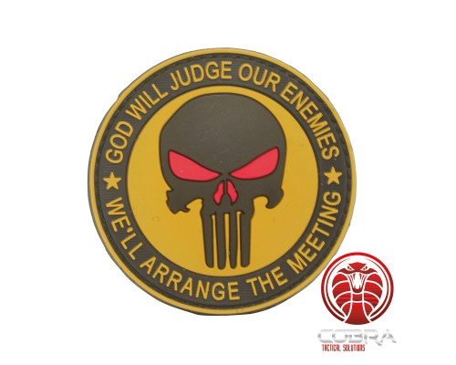 God Will Judges Our Enemies * We'll arrange the meeting 3D bruine Punisher PVC Patch met klittenband